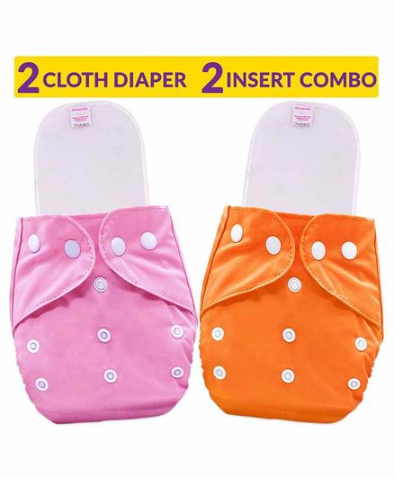 Bembika Reusable Solid Pocket Cloth Diapers With Inserts Pack of 2 - Pink Orange