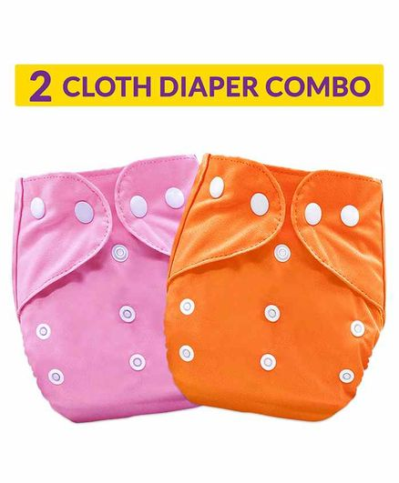 Bembika Washable & Reusable Solid Pocket Cloth Diapers Without Insert Pack of 2 - Orange Pink