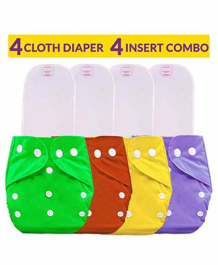 Bembika Cloth Diapers with Inserts Set of 4 - Multicolor