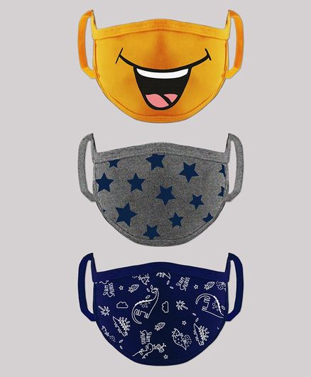 Babyhug 4 to 6 Years Washable & Reusable Knit Printed Face Mask - Pack of 3