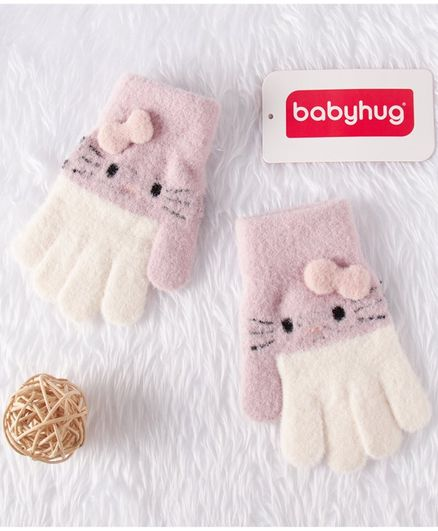 Babyhug Woolen Hand Gloves Bow Applique - White