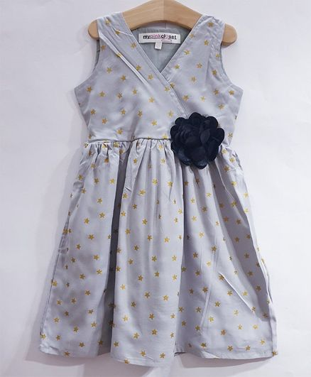 My Pink Closet Sleeveless Star Printed Dress - Grey