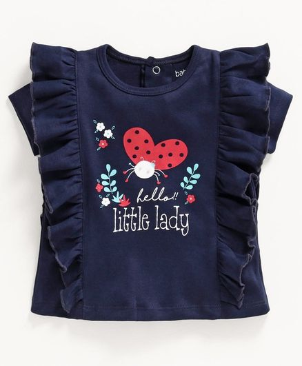 Babyoye Half Sleeves Tee Butterfly Print - Navy Blue