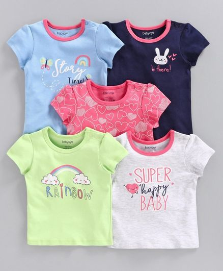 Babyoye Flutter Sleeves Printed Tee Pack of 5 - Multicolor