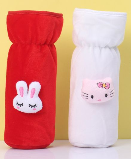 Zoe Velvet Bottle Cover Teddy & Kitty Motif Red White Pack of 2 - Fits Up to 240 ml Bottle
