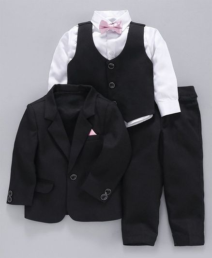 Babyoye Full Sleeves 4 Piece Cotton Party Suit with Bow - Black White