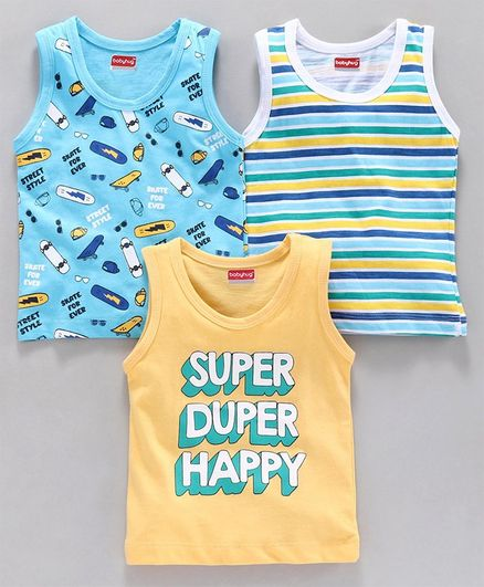 Babyhug 100% Cotton Sleeveless Sando Pack of 3 - Blue Yellow