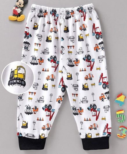 Cucumber Full Length Fleece Lounge Pant Construction Vehicles Print - Black White