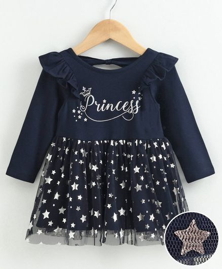 Babyoye Full Sleeves Cotton  Frock Princess Print - Navy Blue