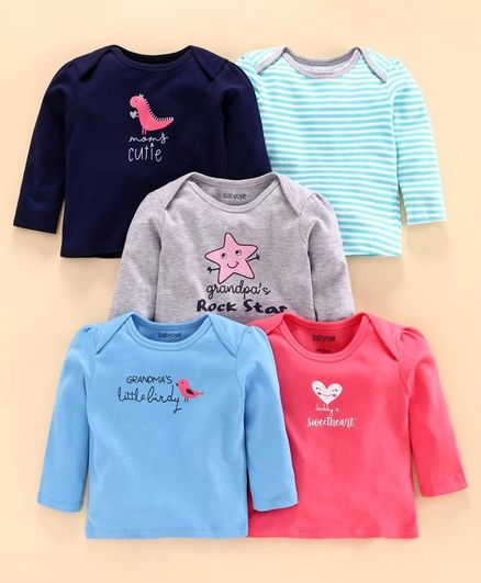 Babyoye Full Sleeves Cotton Printed & Striped Tee Pack of 5 - Blue Pink Grey