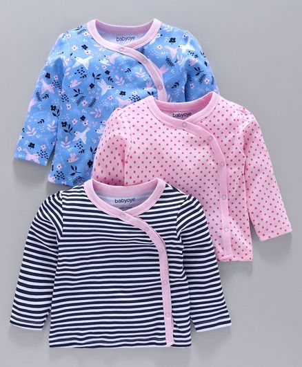 Babyoye Cotton Half Sleeves Jhabla Pack of 3 - Blue Pink
