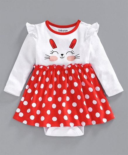 Babyhug Cotton Cap Sleeves Frock Style Onesie Kitty Print - Red White