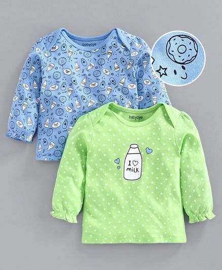 Babyoye Full Sleeves Cotton Tee Milk Bottle Print Pack of 2 - Blue Green