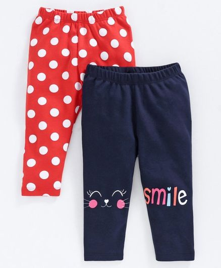 Babyoye Full Length Cotton Leggings Polka Dot Print Pack of 2 - Red Navy Blue