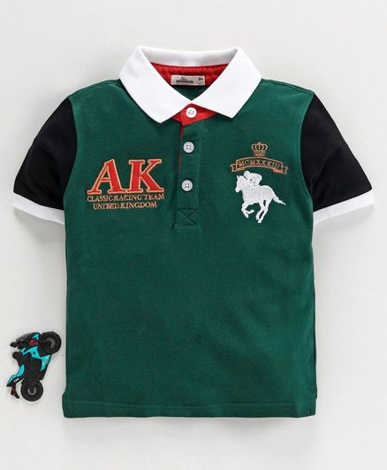 Adams Kids Horse Heavy Embroidered Half Sleeves Tee - Green