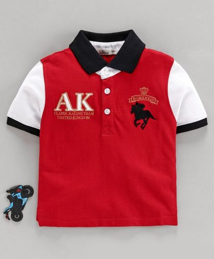 Adams Kids Horse Heavy Embroidered Half Sleeves Tee - Red