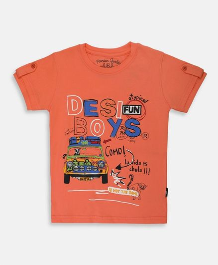 Li'l Tomatoes Half Sleeves Taxi Printed Tee With Free 3 Ply Face Mask - Orange
