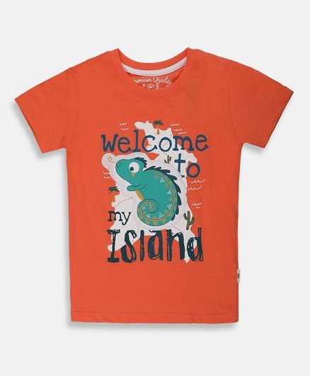 Li'l Tomatoes Half Sleeves Animal Patch Detailing Tee With Free 3 Ply Face Mask - Orange