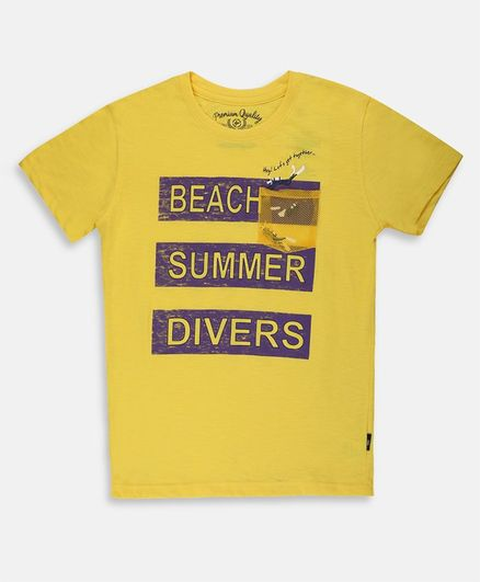 Li'l Tomatoes Half Sleeves Beach Summer Divers Printed Tee With Free 3 Ply Face Mask - Yellow