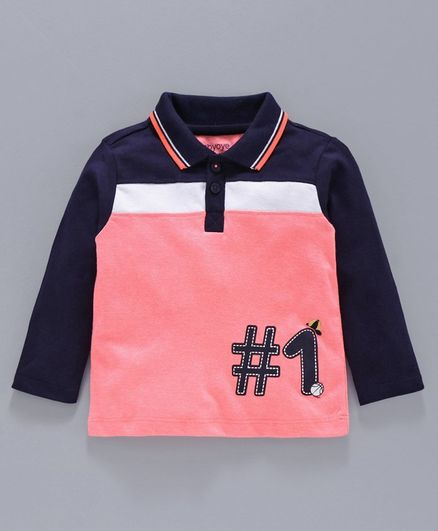 Babyoye Cotton Blend Full Sleeves Tee Numeric 1 Print - Pink Navy Blu
