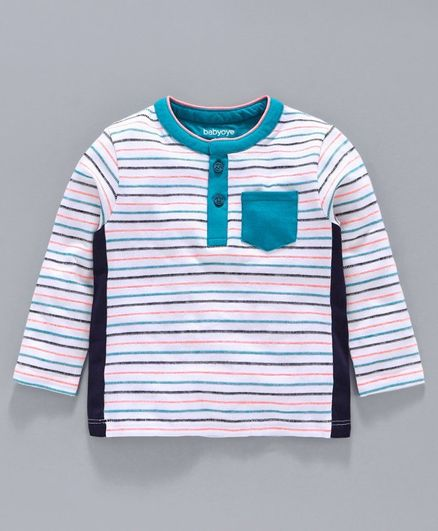 Babyoye Full Sleeves Cotton Yarn Dyed Striped Tee - White Blue