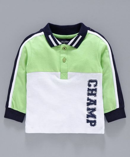 Babyoye Full Sleeves Cotton Tee Champ Print - Light Green White