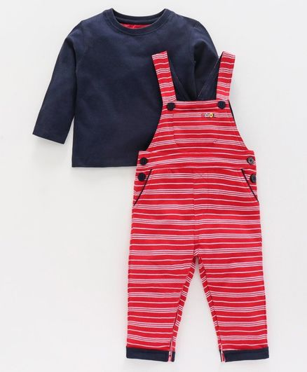 Babyoye Cotton Striped Dungaree With Inner Tee  - Navy  Red