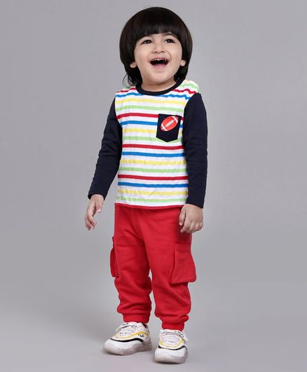 Babyoye Full Sleeves Striped Suit  - Red Blue