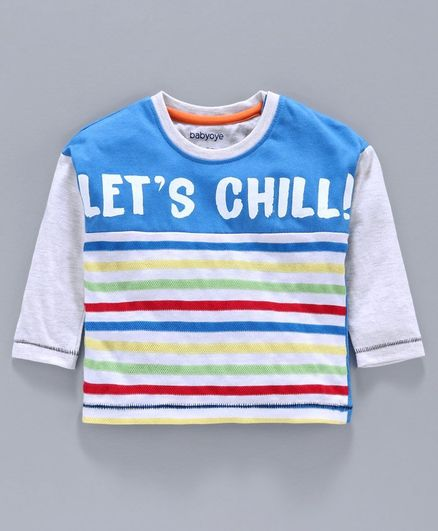 Babyoye Full Sleeves Cotton Yarn Dyed Tee Let's Chill Print - White Blue
