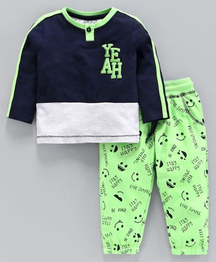 Babyoye Cotton Blend Full Sleeves Tee with Lounge Pant Happy Print - Navy Blue Lime Green