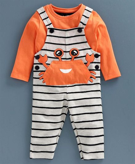 Babyoye Cotton Striped Dungaree with Full Sleeves Inner Tee Crab Patch - Orange