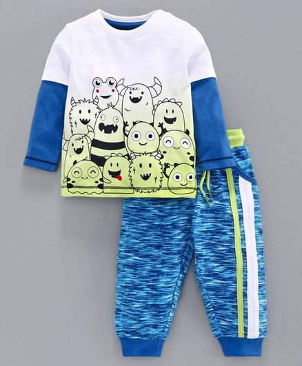Babyoye Cotton Doctor Sleeves Tee & Lounge Pant Monster Print - White Blue