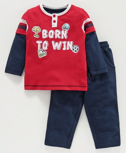 Babyoye Doctor Sleeves T-Shirt and Pant Set Text Print - Red