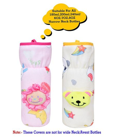 The Little Lookers Soft Plush Elasticated Bottle Cover Applique Design Pink Blue Pack of 2 - Fits 240 & 150 ml Bottle