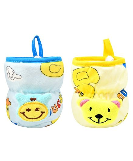 Broad Neck Feeding Bottle Cover with Strap Animal Motif Pack of 2 Yellow Blue - Fits 125 ml Bottle