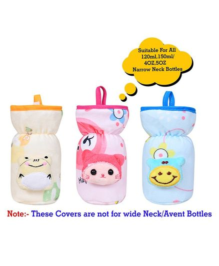 The Little Looker Plush Bottle Cover with Elastic Neck Pack of 3 Blue Yellow Pink - Fits 120 ml Bottle