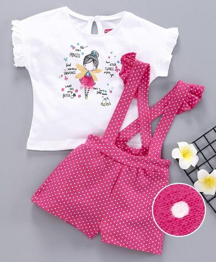 Babyhug Short Sleeves Tee & Shorts With Attached Suspenders Doll Print - White Pink