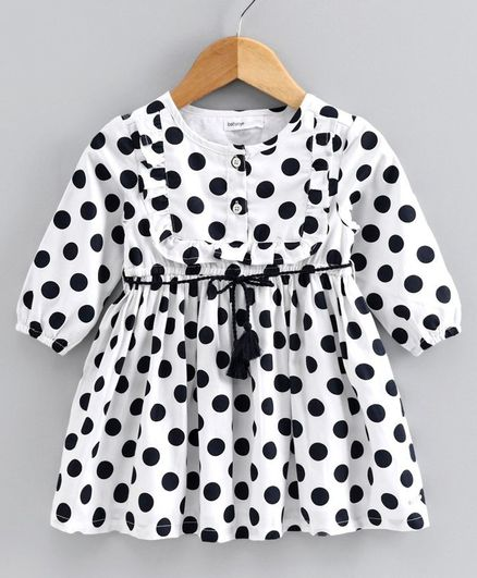 Babyoye Full Sleeves Polka Dotted Frock - White Black