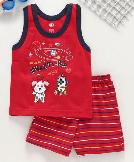 Zero Sleeveless Tee with Striped Shorts Adventure Print - Red