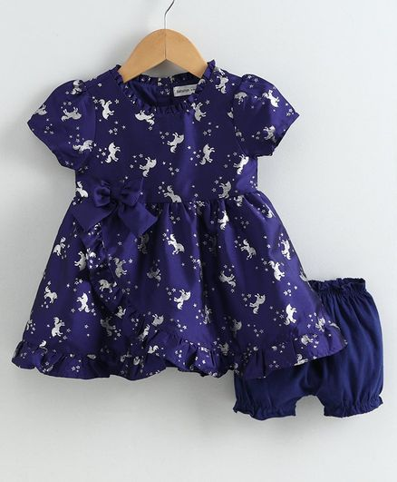 Babyoye Short Sleeves Poly Blend Frock with Bloomer Unicorn Print - Indigo