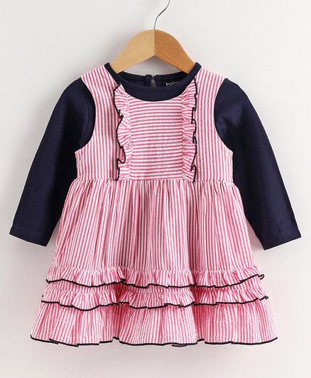 Babyoye Striped Frock with Full Sleeves Inner Tee - Red