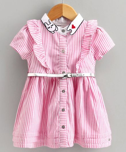 Babyoye Half Sleeves Striped Frock - Pink