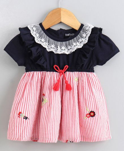Babyoye Half Sleeves Striped Frock Floral Embroidery - Coral Pink