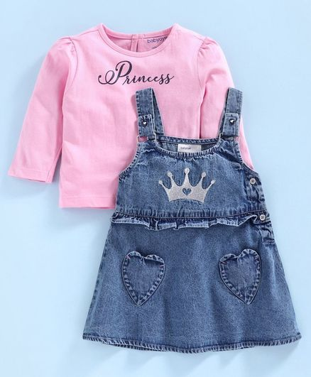 Babyoye Dungaree Style Frock with Full Sleeves Inner Tee Princess Tee - Pink Blue