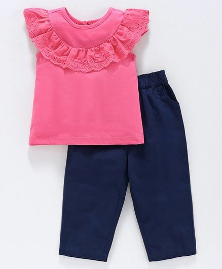 Babyoye Cotton Short Sleeves Top with Bottom - Pink Blue