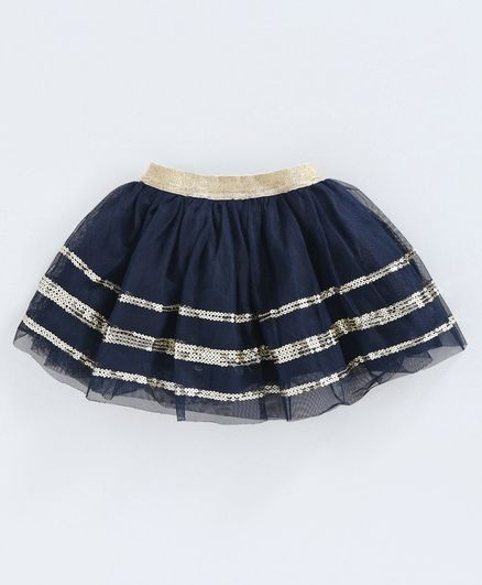 Babyoye Sequin Embroidered Skirt - Navy Blue