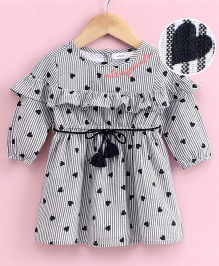 Babyoye Cotton Full Sleeves Frock Heart Print - White Grey