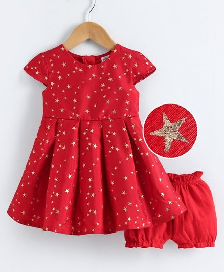 Babyoye Short Sleeves Cotton Poly Frock with Bloomer Star Print - Red