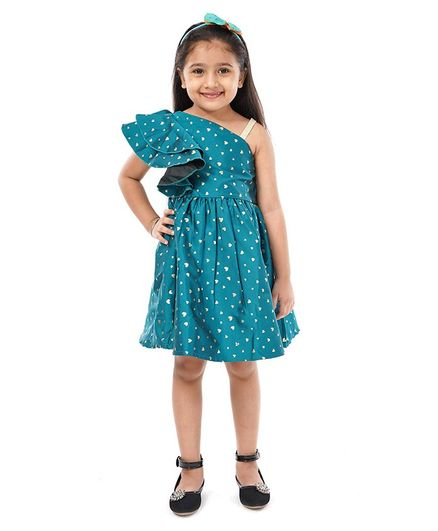 Babyoye Party Frock With Bloomer Heart Print - Green