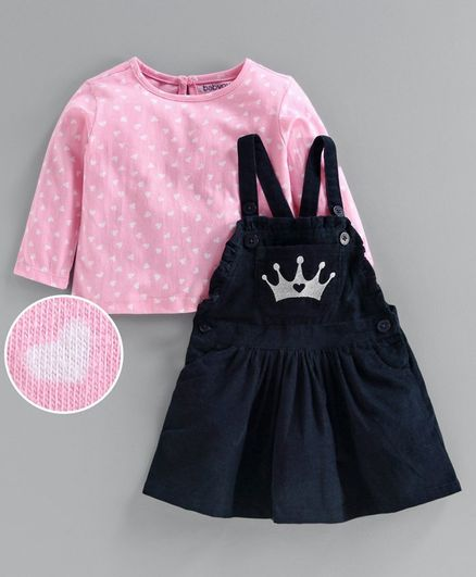 Babyoye Corduroy Dungaree Style Frock With Inner Cotton Tee Crown Print - Pink Navy Blue